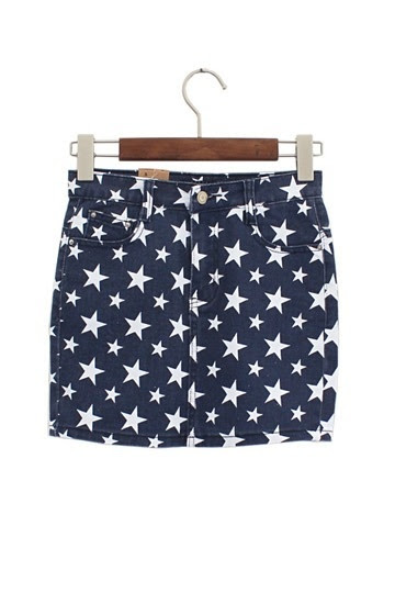 Stars Jean Skirt