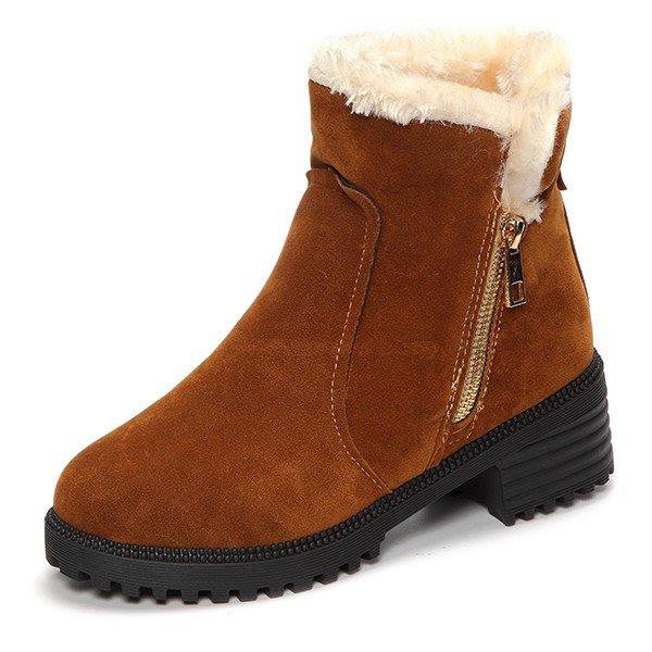 Warm Scrub Short Boots Side Zipper Mid Heel Ankle Shoes