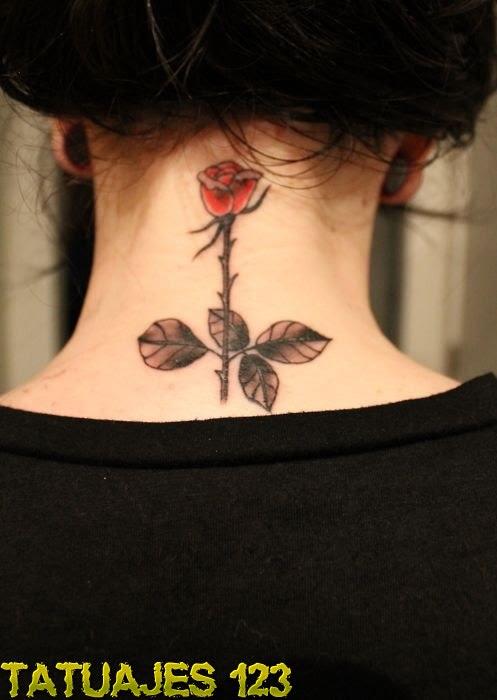 Rosa En La Nuca Tatuajes 123
