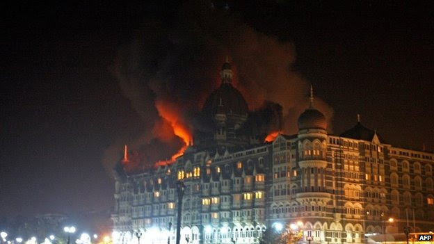 A fire breaks out of the Taj hotel in Mumbai during the attacks in 2008