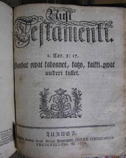 Lizeliuksen 1776 Raamatun UTn kansilehti