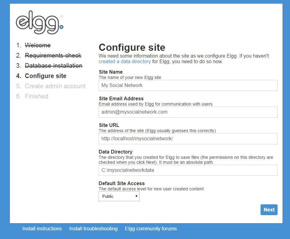 configuring site