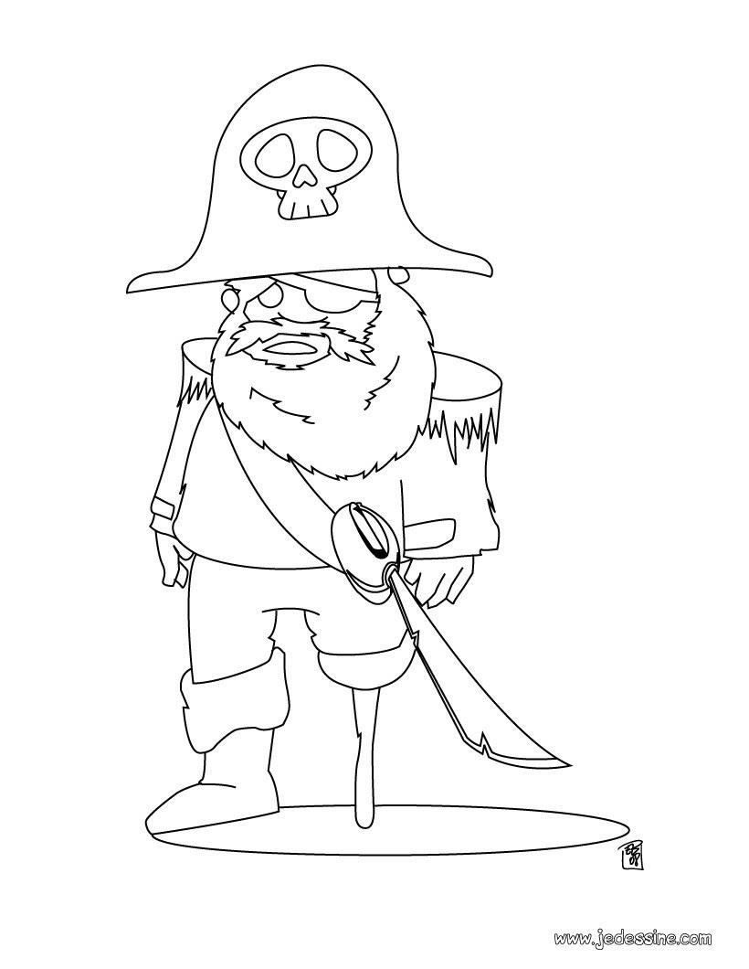 Coloriage d un pirate avec une jambe de bois