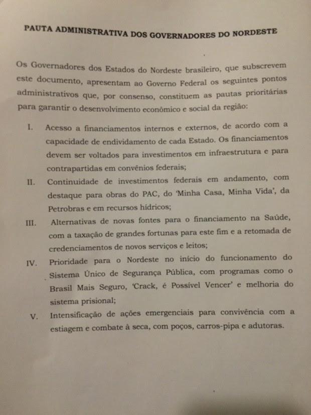 Carta governadores parte 2 (Foto: Reprodução)