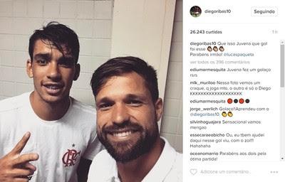 Diego brinca com Paquetá via Instagram (Foto: Reprodução)