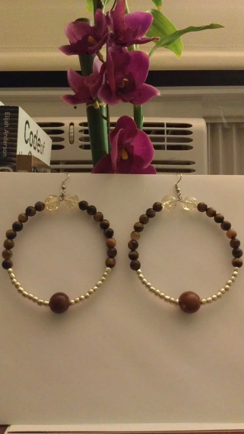 "Silver and Brown Beaded Door Knocker Hoop Earrings with Tiger Eye Accents: ""Tigress"""