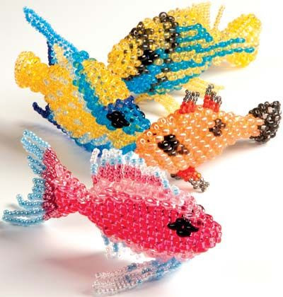 Home Décor Fish with Twin Seed Beads. Design by Preciosa. FREE Project with Instructions. #FMG Design Idea CAF3