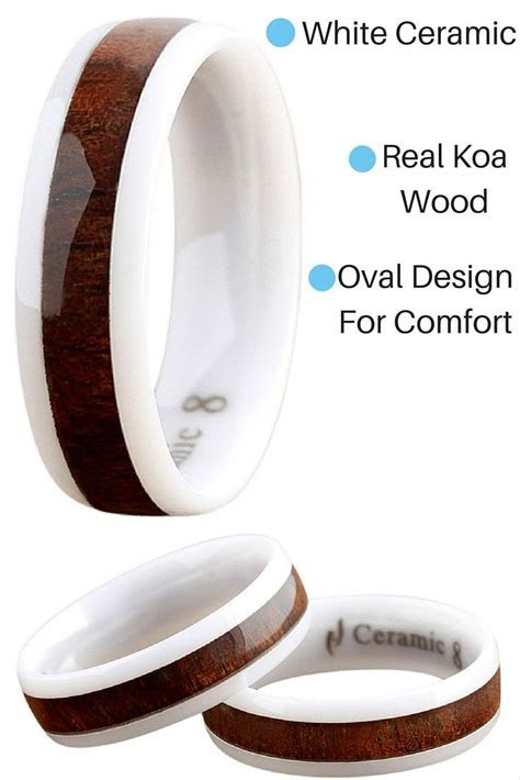6mm White Ceramic Koa Wood Wedding Band Oval Design White