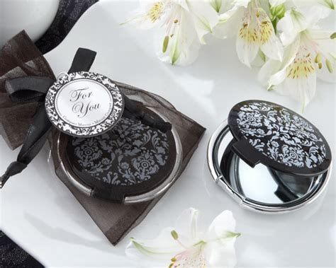 Black and White Damask Compact Mirror  Bridal Shower Favor