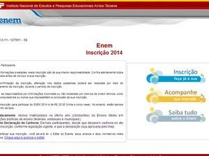 Site de inscrição para o Enem já está no ar (Foto: Reprodução/Inep)