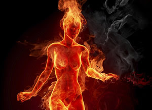 Image result for woman made of fire