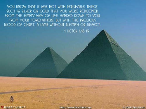 Inspirational illustration of 1 Peter 1:18-19