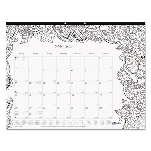 Academic DoodlePlan Desk Pad Calendar w\/Coloring Pages, 22 x 17, 20182019  Lighthouse Office
