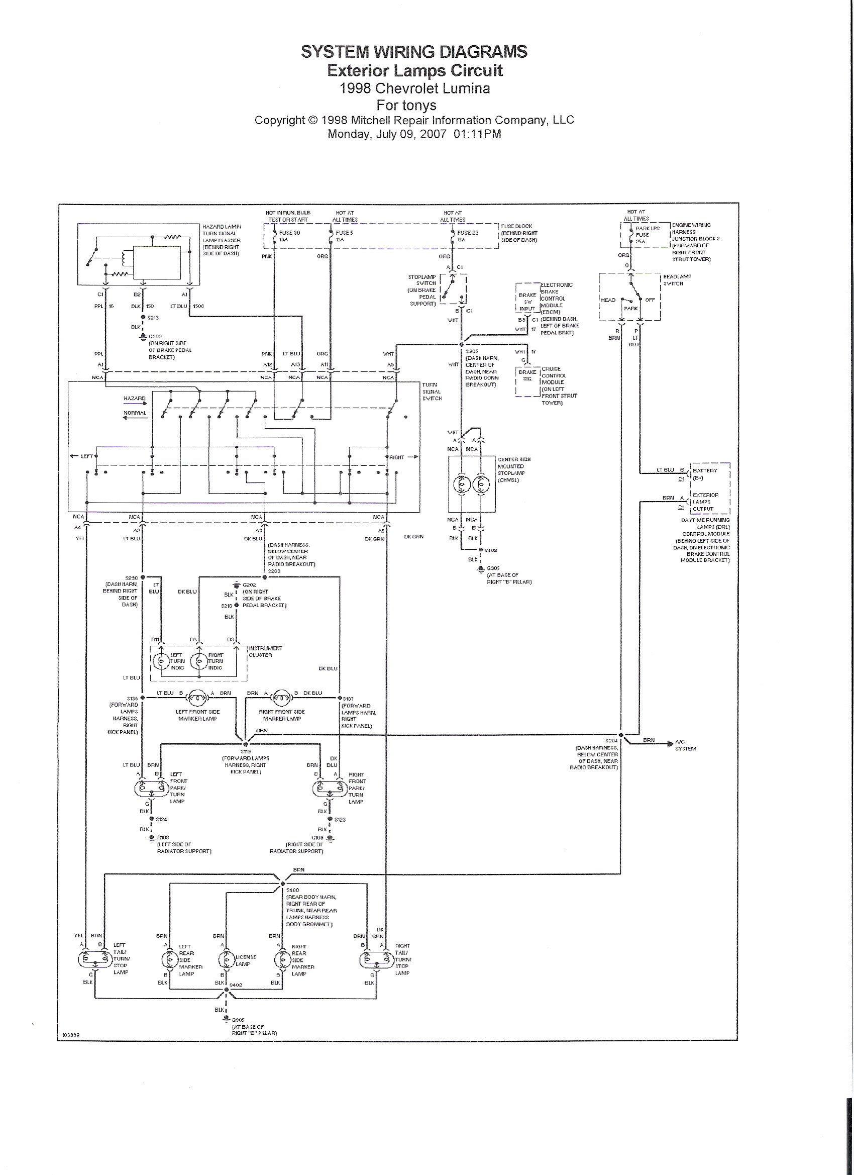 1998 Chev Lumina - Rear brake lights do not work. (3rd ...
