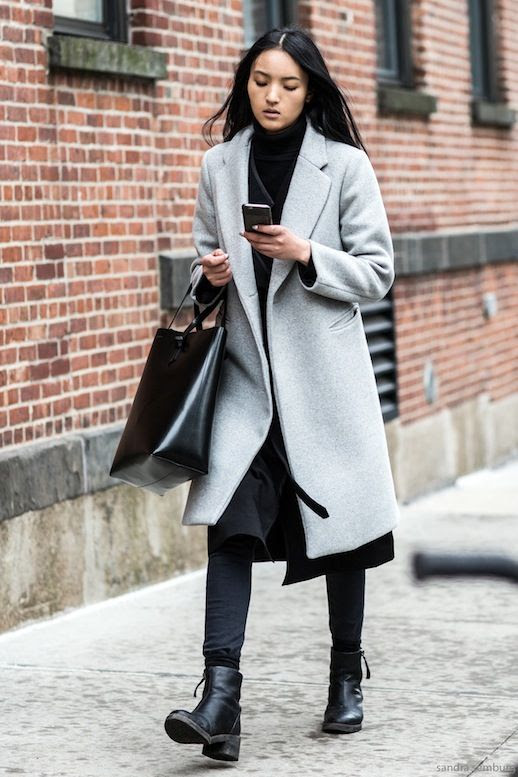 Le Fashion Blog Street Style Longline Grey Coat Leather Trimmed Wrap Cardigan Turtleneck Black Skinny Jeans Ankle Boots Via A Love Is Blind