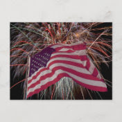 American Flag and Firework Postcard