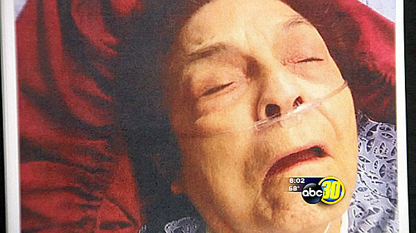 78-year-old Mary Poole after she was pepper-sprayed twice in the face.