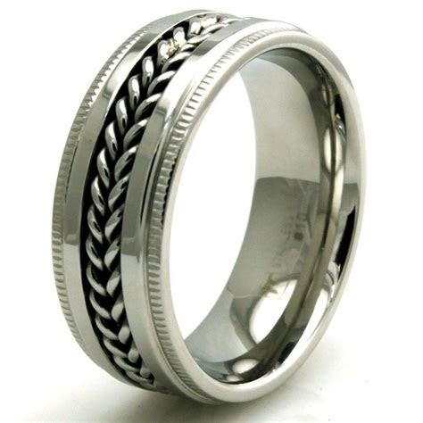 Men's Stainless Steel Chained Biker Engravable Wedding