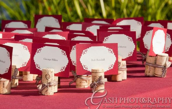 Wine cork escort cards wedding brown red Escort Cards