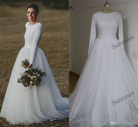 Elegant Long Sleeve Wedding Dresses Two Piece Bridal Gowns