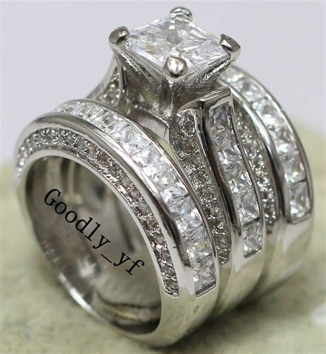 Princess Cut 7mm Topaz 14K White Gold Filled Women Wedding