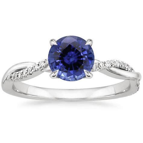 Sapphire Petite Twisted Vine Diamond Ring in 18K White Gold