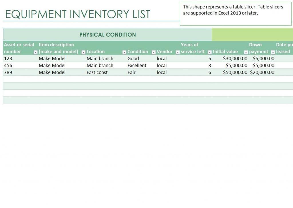 Equipment Inventory List Equipment Inventory List Template