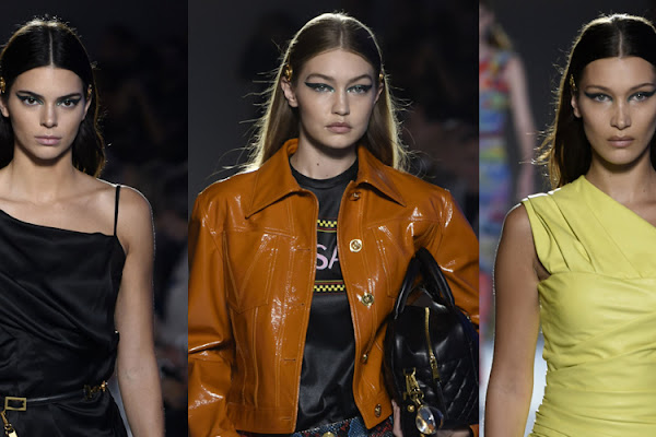 a3bc357d94a Kendall Jenner Joins the Hadid Sisters in Versace's Milan Show