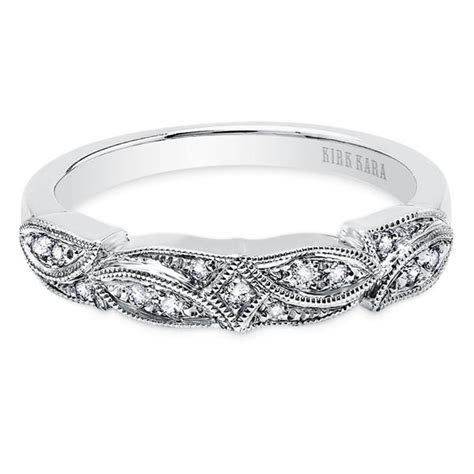 "Kirk Kara ""Dahlia"" Diamond Leaf Style Wedding Band 0.10"