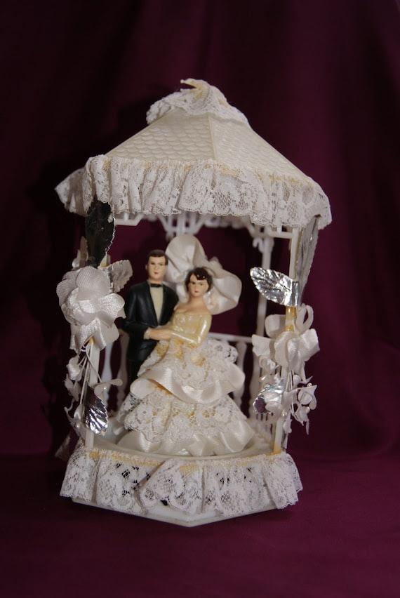 Vintage Kitsch 1970s Wedding Cake Topper Bride and Groom