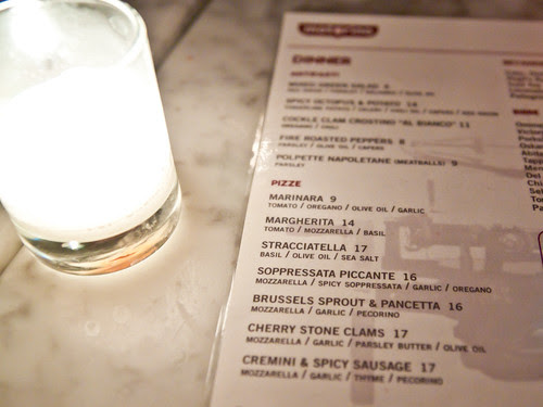 Motorino's pizza menu