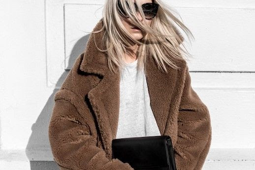 Le Fashion Blog Celine Round Sunglasses Brown Teddy Coat White T Shirt Via Figtny