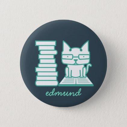 Booklover Cat Geek Button