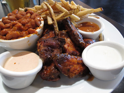 Wings with Baked Beans and Handcut Fries