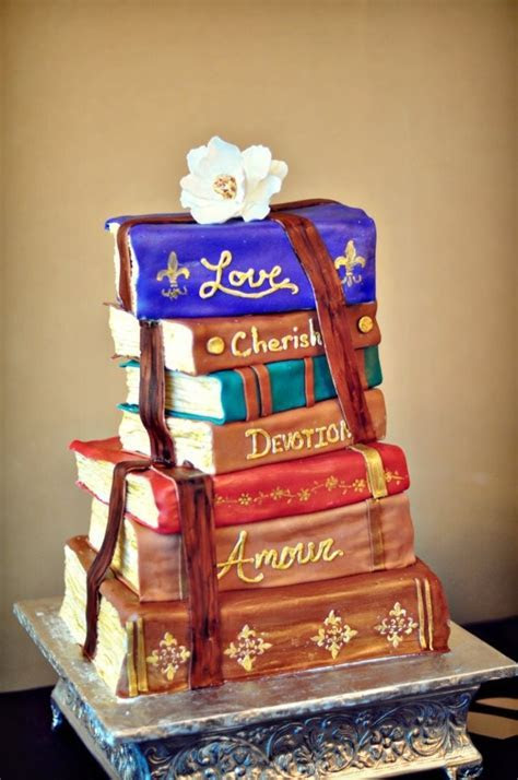 Romantic Stacked Books Wedding Cake   CakeCentral.com