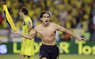 Radamel Falcao Garcia of Colombia celebrates a goal against Chile during their 2014 World Cup qualifying match in Barranquilla, October 11, 2013. REUTERS/John Vizcaino