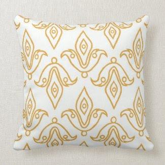 Stylish Pillow White, Gold, Fleur de Lys Pattern throwpillow