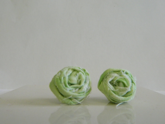 Green and White Fabric Rosette Earrings
