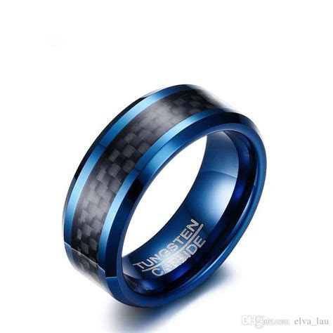 2019 Bulk Wholesale Blue Tungsten Rings For Men Wedding