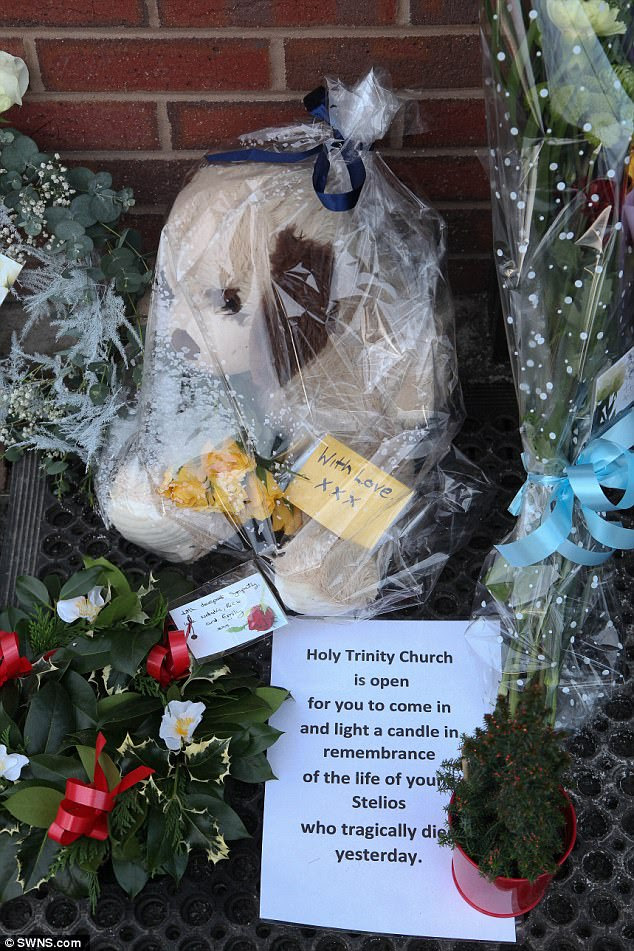 A nearby church, Holy Trinity, Minsterley, left a tribute for little Stelios outside the fish and chip shop inviting people to light a candle to remember him