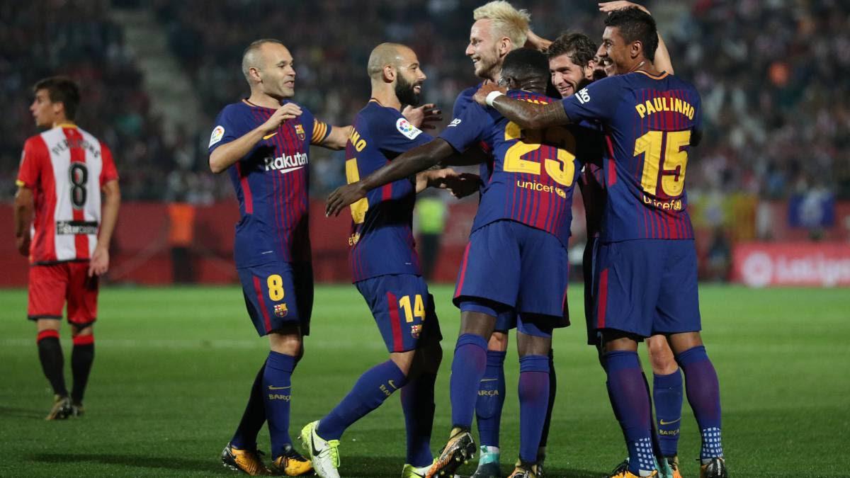 El Barcelona continua firme en la primera posición y gana fácil en el derbi de Montilivi
