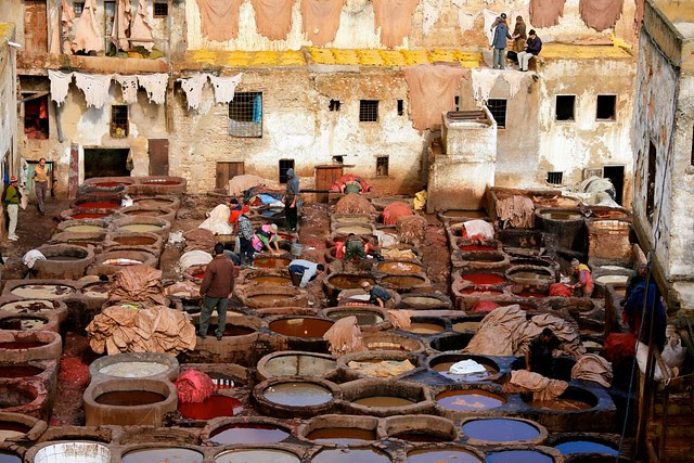The Tanneries in Fes (Fez) Morocco