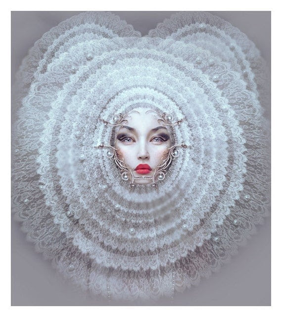 white queen detail, natalie shau original signed print