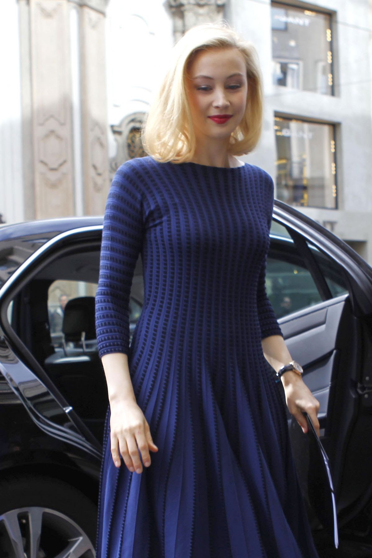 SARAH GADON Arrives at Armani Hotel in Milano