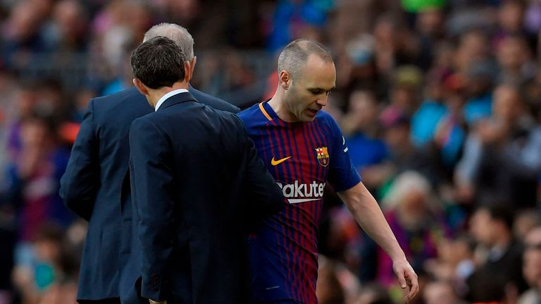 Andres Iniesta was forced off against Atletico Madrid due to injury