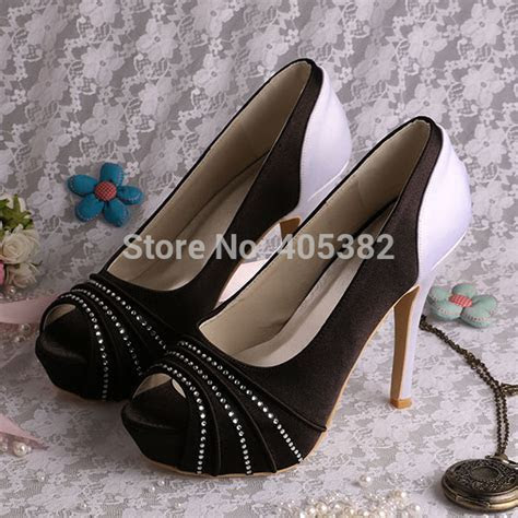 Discount Black and White Prom High Heels Platform Wide
