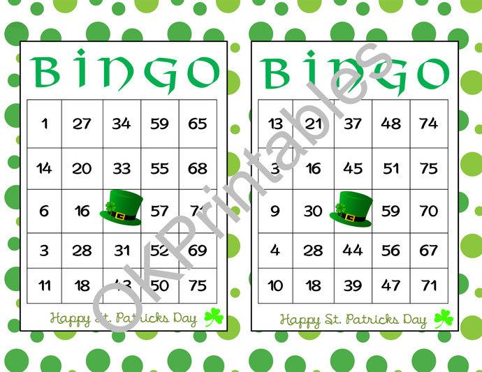 30 Happy St. Patricks Day Bingo cards - | okprintables