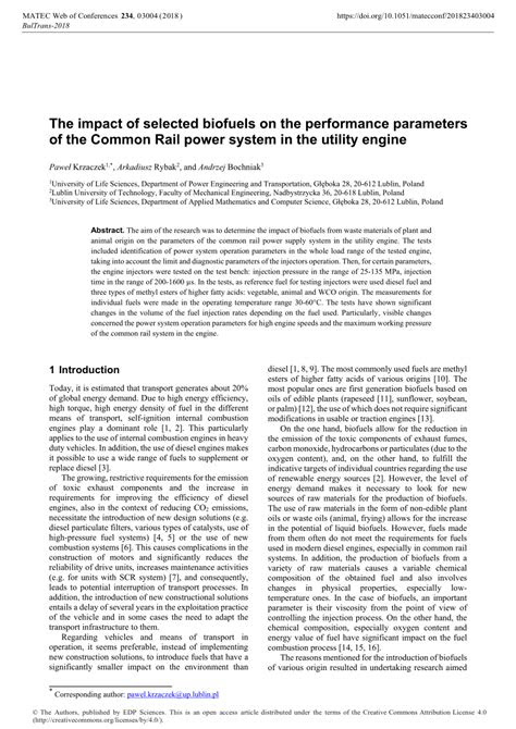 (PDF) The impact of selected biofuels on the performance