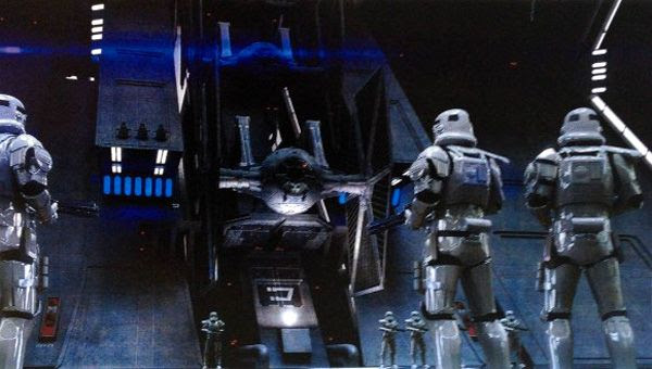 Concept artwork featuring Stormtroopers inside a TIE Fighter hangar in STAR WARS: EPISODE VII.