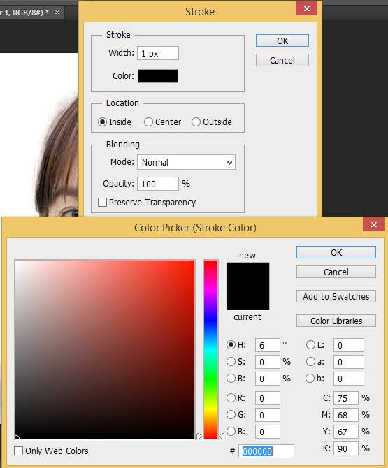 Hình 8: Đặt giá trị màu đen cho đường viền của hình thẻ